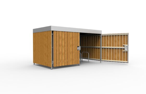 Wooden shelter with swing door and 10 space toast rack