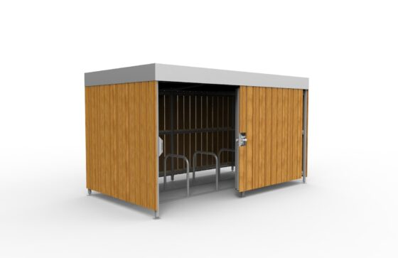 Wooden shelter with sliding door and 10 space toast rack