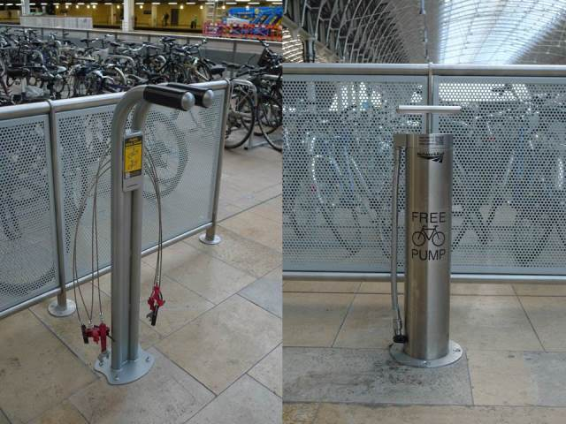 Public bike pump and bike repair stand at Paddington Cycle Hub