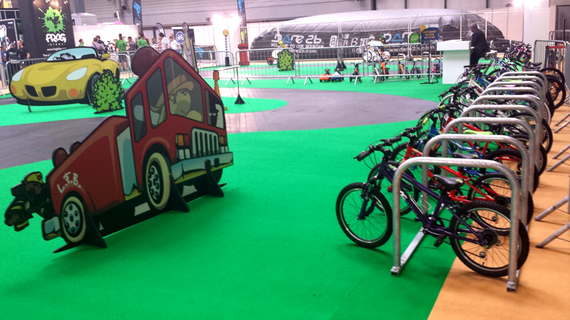 Cyclehoop temporary cycle parking on the children's cycling track at the Cycle Show 2013 NEC Birmingham