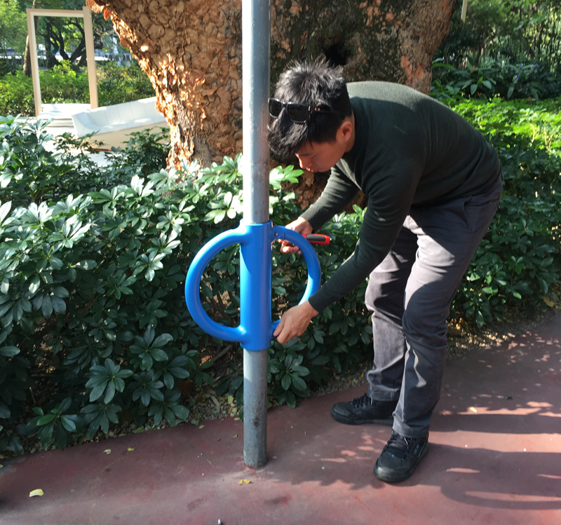 Cyclehoop MD Anthony Lau installing the first Cyclehoop in Hong Kong at Kowloon Park