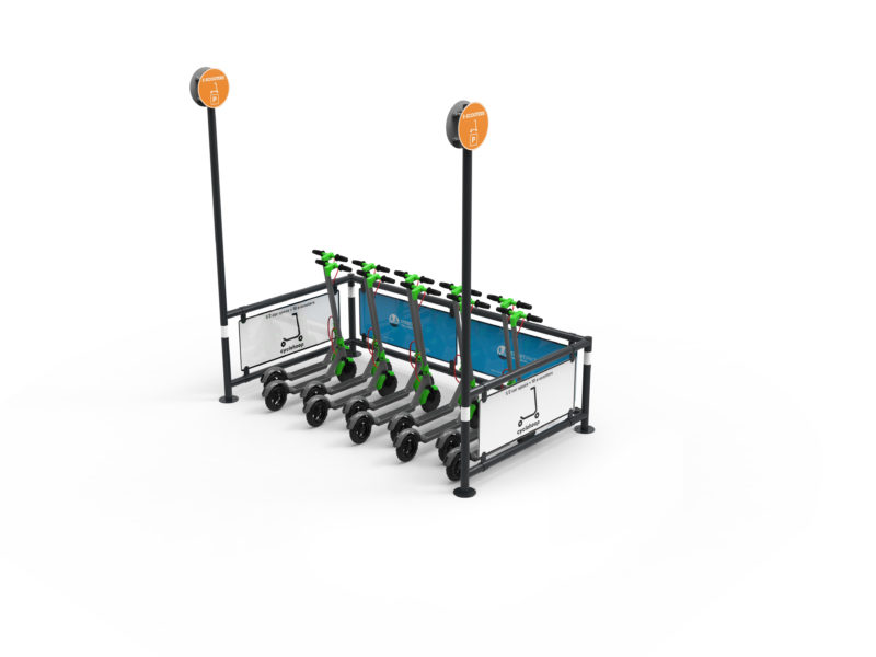 Single rackless module of the Mobility Corral for shared e-scooter hire schemes