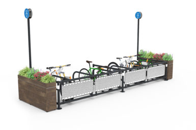 Mobility Corral for standard bikes and cargo bikes with planters and custom front panels
