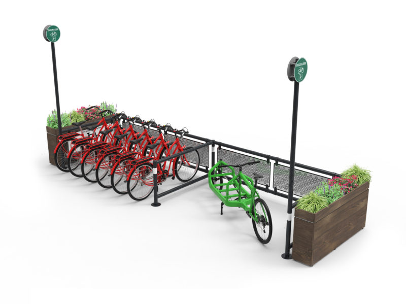 Mobility Corral for shared bikes and cargo bikes with planters and custom front panels